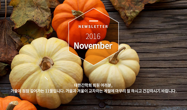 Newsletter 2016 November 대한간학회 회원 여러분, 가을이 점점 깊어가는 11월입니다. 가을과 겨울이 교차하는 계절에 마무리 잘 하시고 건강하시기 바랍니다.